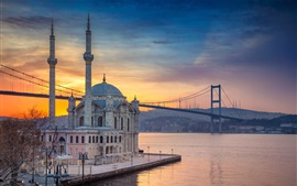 Preview wallpaper Turkey, Istanbul, bridge, mosque, river