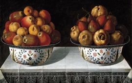 Preview wallpaper Two bowl of fruits, pears, apples, table