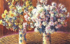Preview wallpaper Two vases, chrysanthemums, painting
