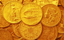 Preview wallpaper US dollars, gold coins