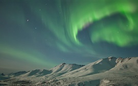 Preview wallpaper USA, Alaska, Northern lights, snow, mountains, winter