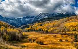 Preview wallpaper USA, Colorado, trees, valley, forest, mountains, clouds, autumn