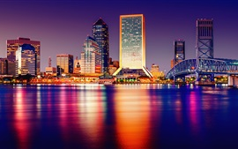 USA, Florida, Tampa, city night, skyscrapers, lights, sea