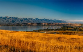 Preview wallpaper USA, Montana, Rocky Point, trees, valley, mountains, grass, river, autumn