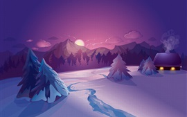 Vector picture, winter, snow, hut, night