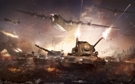 Preview wallpaper War Thunder, hot game, tanks, bomber