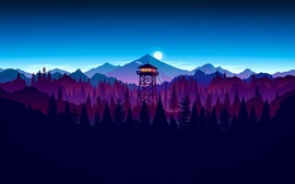 Preview wallpaper Watchtower, moon, mountains, forest, art picture