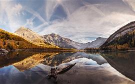 Agua, lago, montañas, árboles, nubes, reflexión, otoño