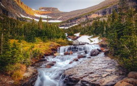 Waterfalls, trees, mountains, nature landscape