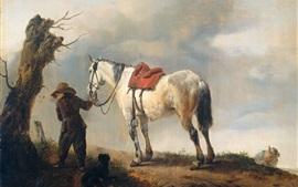 Aperçu fond d'écran Cheval blanc, peinture à l'huile