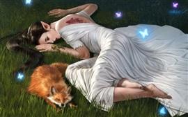 壁紙のプレビュー 白いスカートファンタジーガールとキツネは草の中で眠る