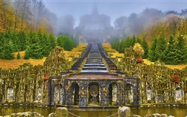 Preview wallpaper Wilhelmshohe Mountain Park, Germany, stairs, trees, fog, autumn