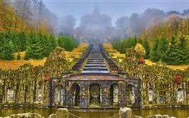 Wilhelmshohe Mountain Park, Alemanha, escadas, árvores, nevoeiro, outono