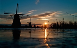 Preview wallpaper Windmill, sunset, river, grass