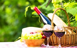 Vinho, uvas, garrafa, cesta, copos