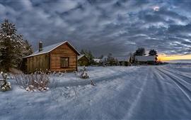 Inverno, casas, neve, nuvens, crepúsculo