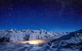 Invierno, montañas, nubes, noche, estrellado, nieve
