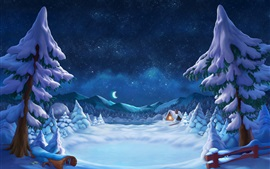 Preview wallpaper Winter, snowy, trees, hut, lights, starry, moon