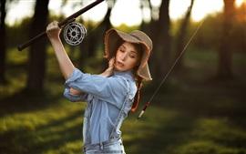 Mulher, pescador, chapéu
