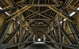 Preview wallpaper Wooden bridge, tunnel