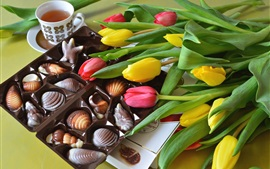 Preview wallpaper Yellow and red tulips, candy, tea