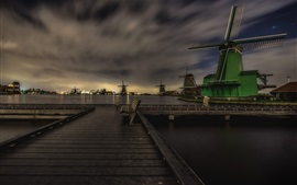 Preview wallpaper Zaanse Schans, Netherlands, night, windmills, bench, dusk