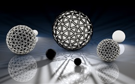 Preview wallpaper 3D balls, black and white