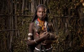 Preview wallpaper Africa, Ethiopia, goat, black skin girl