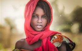壁紙のプレビュー アフリカの女の子、肖像画、スカーフ