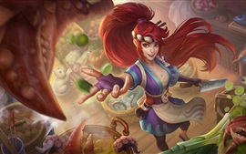 Preview wallpaper Akali, League of Legends, red hair girl