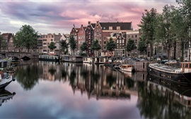 Preview wallpaper Amsterdam, Netherlands, City view, houses, river, boats