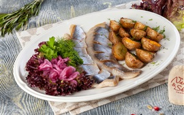 Preview wallpaper Appetizer, dish, herring, potatoes, onion