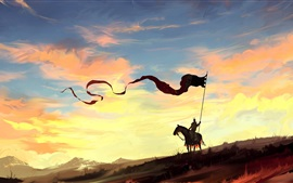 Preview wallpaper Art painting, knight, horse, banner