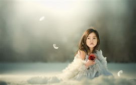 Asian child girl, feathers, rose