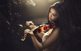 Preview wallpaper Asian girl play violin, light lines