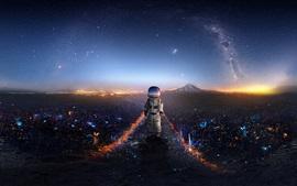 Astronauta, bebê, espaço, criativo