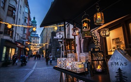 Preview wallpaper Austria, Innsbruck, street, lanterns, holiday