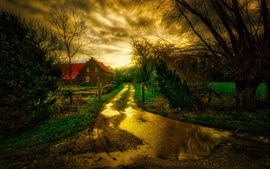 Preview wallpaper Austria, road, water, house, autumn, trees, HDR style
