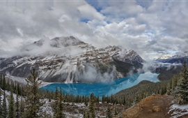 Preview wallpaper Beautiful Banff National Park, Peyto Lake, mountains, trees, Canada
