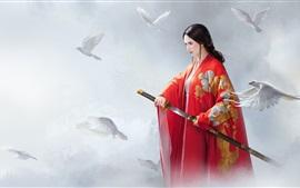 Hermosa chica china, vestido rojo, espada, pájaros, estilo retro, arte