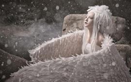 Beautiful angel, wings, Asian girl