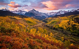 Preview wallpaper Beautiful autumn landscape, trees, clouds, mountains