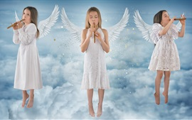 Preview wallpaper Beautiful little angel girls, wings, sky