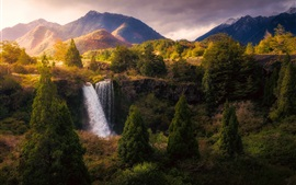 Preview wallpaper Beautiful nature landscape, waterfall, trees, mountains, autumn