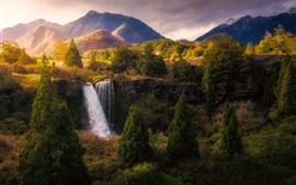 Bela natureza paisagem, cachoeira, árvores, montanhas, outono