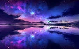 Preview wallpaper Beautiful night nature landscape, starry, stars, sea