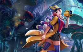 Preview wallpaper Beautiful young girl, toy, fantasy art