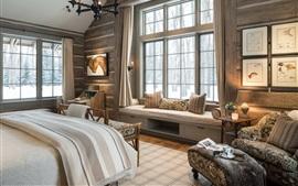壁紙のプレビュー ベッドルーム、窓、ベッド、椅子、ろうそく