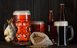 Preview wallpaper Beer, foam, grain, dry fish, bottles, mugs