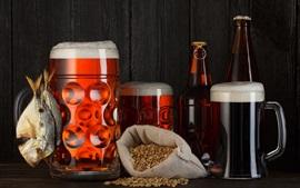 Aperçu fond d'écran Bière, mousse, grain, poisson sec, bouteilles, grosses tasses